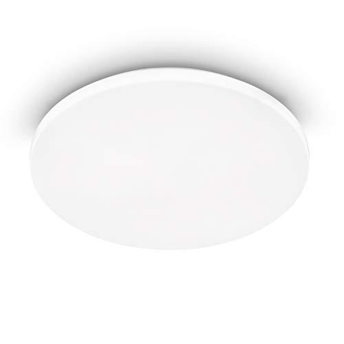 EGLO Deckenlampe mit Bewegungsmelder innen Frania-M Ø 33 cm, LED Deckenleuchte mit Tageslichtsensoraus Stahl und Kunststoff in Weiß, LED Wandlampe warmweiß, 75449