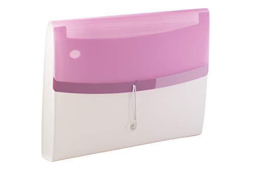 Tarifold Es 511328 - Carpeta Clasificadora Acordeón Archivadora Extensible Portátil Organizador Documentos para A4 con 13 Compartimientos, Gran Capacidad, Color Dream, Blanco/Violeta pastel