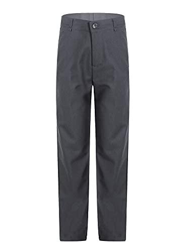 Sholeno Kids Boys Classic Flat Front Straight Pants School Uniforms Formal Dress Up Adjustable Waist Trousers Gray 8-9