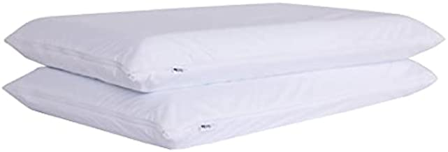 Feather Proof Pillow Protectors with Zipper Standard Size Smooth Bamboo Jersey Waterproof Down Proof Covers for Bed Pillows 2 Pack