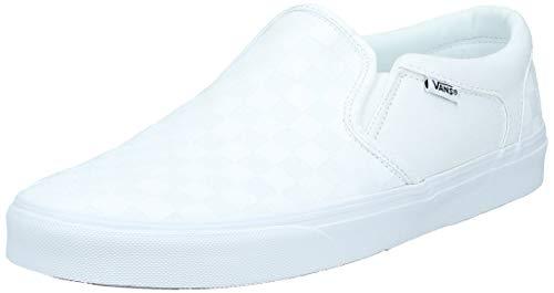 Vans Herren MN Asher Slip On Sneaker, Weiß ((Checkerboard) White/White W51), 40.5 EU