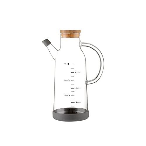 YUZZZKUNHCZ Botella de aceite yh, dispensador de aceite de cocina de cristal, recipiente a prueba de fugas con tapa de madera y punta de goteo para cocina Tamaño: 225 x 90 mm