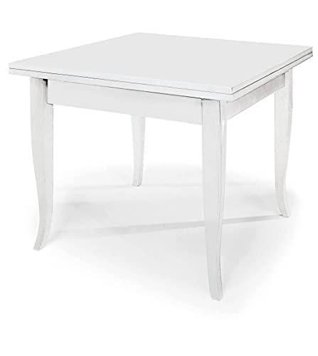Milani Home s.r.l.s. Tavolo da Pranzo Allungabile Apribile A Libro Bianco Cm 100 X 100/200 per Interno Sala da Pranzo Cucina Arte Povera