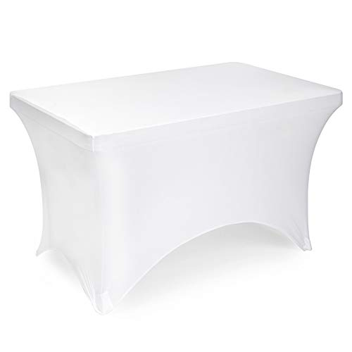 """Lann's Linens - 4' Fitted Stretch Tablecloth for 48"""" x 24"""" Rectangular Table - Wedding/Banquet/Trade Show - Spandex Cloth Fabric Cover - White"""