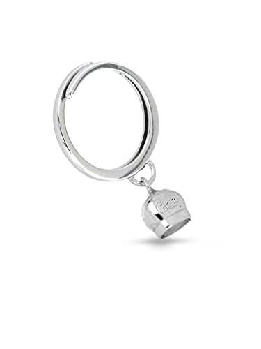 Donipreziosi Anello regolabile con Campanella Capri in Argento Bianco 925% Made in Italy - Anello campana