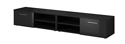 E-Com TV Möbel Lowboard TV-Element TV Schrank TV-Ständer Entertainment Vegas Korpus Schwarz Matt/Fronten schwarz Hochglanz 240 cm