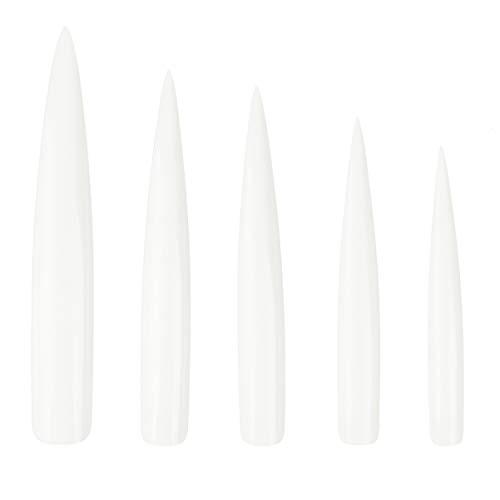 Beaupretty 120 Pcs Extra Long Stiletto Faux Nail Art Conseils Acrylique Faux Ongles Outils Kit Ongles Sharp Faux Ongles Pour Ongles Salon (12 Styles Long Sharp Sharp Transparent)
