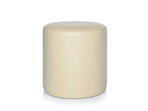 moebel-eins POUFI Hocker rund Pouf Polsterhocker Sitzhocker Sitzwürfel Fußhocker Kunstleder, beige