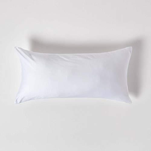 Homescapes Kissenbezug 40 x 80 cm – 100% Bio-Baumwolle Fadendichte 400 Perkal – Kissenhülle mit Reißverschluss – weiß