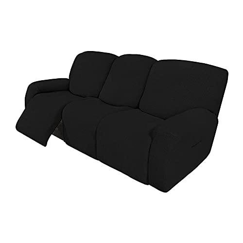 HUANXA Elástico Jacquard Fundas De Sofá para 1 2 3 Seater Chaise Longue Sillón Sofá, Universal Funda De Sofá Reclinable Protector De Muebles con Fondo Elástico-Negro-3 Plazas(8pcs)