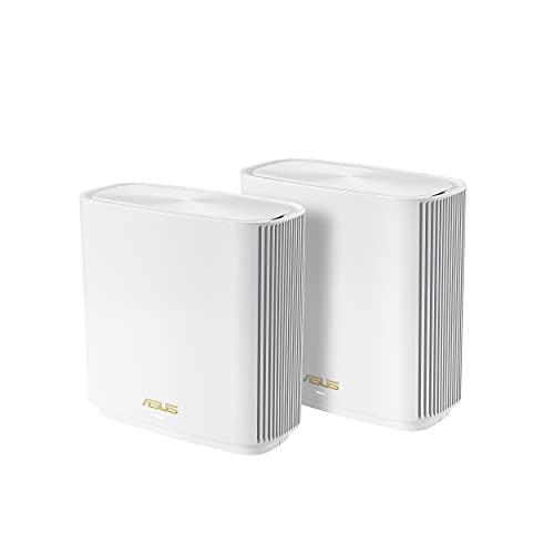 ASUS ZenWiFi sistema de malla triple de banda para todo el hogar (ET8 2PK), cobertura de hasta 5,500 pies cuadrados y 6+habitaciones, 6600 Mbps, nueva banda de 6 GHz, AiMesh, protección instantánea