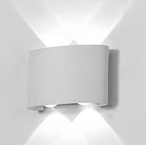 Lampara Arbotante LED Foco Cubo Moderna Aluminio Pared Interior Exterior Impermeable (Marco Blanco + Luz Blanca 4W, 4W)