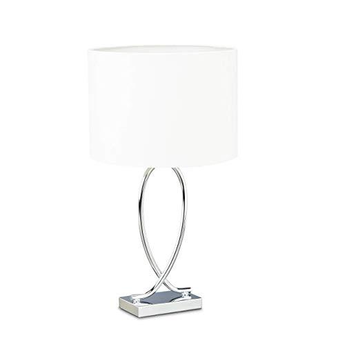Relaxdays 10022850 Lampada da Tavolo da Comodino Argento Paralume Tondo Struttura in Ferro HLP: 36x28x28 cm Bianco