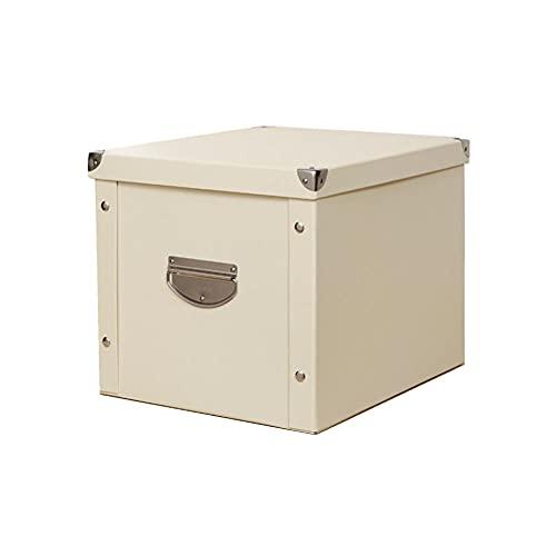Caja de almacenamiento Cubierto Librería de oficina plegable Caja de cartón Dormitorio Ropa Zapato Caja de cajón Juguete Organizador-Blanco crema_51 * 32 * 21 cm