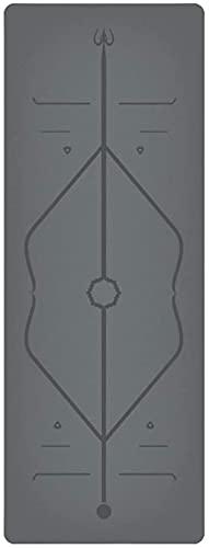 LSLS Esterilla De Yoga 5mm Alfombrillas de Yoga de 5 mm Asanas de Caucho Natural para patinares Que se ensanchan de Yoga Alfombrilla de Fitness con Correa Esterilla Fitness (Color : Gray)