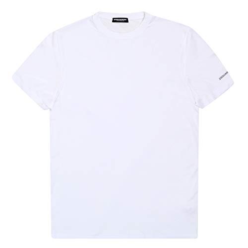 Dsquared DSQ27845 Herren T-Shirt mit 2 Texten, Weiß Gr. XL, weiß