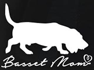 Basset Mom Decal Vinyl Sticker|Cars Trucks Vans Walls Laptop| White |5.5 x 4 in|LLI077