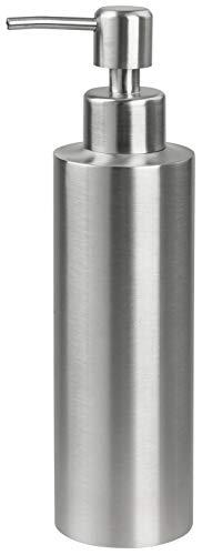 FACKELMANN Seifenspender Tecno, Spender für Flüssigseife aus hochwertigem Edelstahl, Moderne Optik, 350 ml Fassungsvermögen, Seifendosierer in edlem Design (Farbe: Silber Matt), Menge: 1 Stück