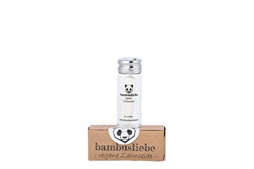 bambusliebe Vegane Zahnseide mit Maisseide - Mit Candelilla-Wachs & Edelminze - Inkl. wiederverwendbarem Glas - Reinigt sanft & schonend, auch für empfindliches Zahnfleisch - Zero Waste