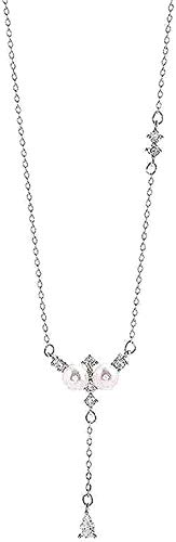 JSYHXYK Collar Collar Pearl Rose Colgante Collar para Mujer Joyería Mejor Cumpleaños para Mujeres Y Niñas