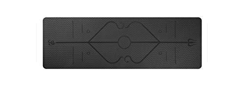 Big Incisors-CA Exercice antidérapant | 1830 * 610 * 6mm TPE Tapis de Tapis de Gymnastique de Yoga avec Ligne de positionnement Tapis de Tapis antidérapant pour débutant Fitness environnemental-Noir-