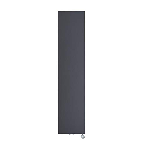 Hudson Reed Rubi - Design Flachheizkörper Elektrisch Vertikal Anthrazit 1800mm x 400mm inkl. 1000W Heizelement