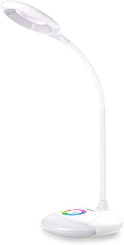 AUKEY LT-ST3 Lampada da Scrivania Ricaricabile, 4W, 18 LED con Base RGB Dimmerabile e Touch Panel per Casa e Ufficio, Bianco [Classe di efficienza energetica A]