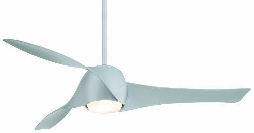 Ventilatore da soffitto Beacon 210780 Artemis Minka Aire con luce diametro 147 cm con Telecomando 3 pale in policarbonato di colore Silver 3 velocità di rotazione 1 Lampada 1x80 Watt R7s inclusa