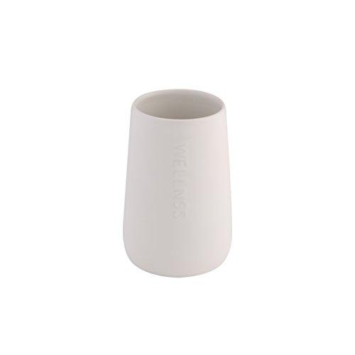 axentia Gobelet à Dents Bonja, Porte-Brosse à Dents en Céramique et Bambou, Tasse de Brosse à Dents Moderne, env. 8,5 x 8,5 x 13 cm, Blanc / Bois 128210