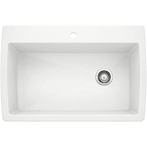 BLANCO, White 440195 DIAMOND SILGRANIT Super Single Drop-In or Undermount Kitchen Sink