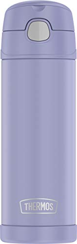 THERMOS FUNTAINER 16 Ounce Stainless Steel Vacuum Insulated Bottle with Wide Spout Lid, Lavender