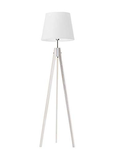 Lámpara de pie de Hols Aruba Pantalla Blanco Marco de Madera Blanco