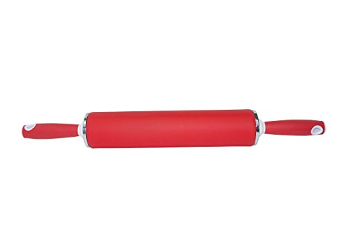 DoughEZ 21.5-Inch Non-Stick Silicone Rolling Pin with Contoured Handles