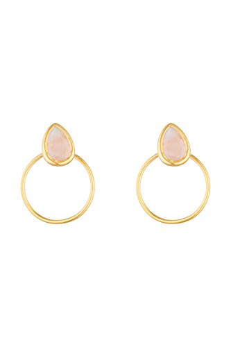 Córdoba Jewels | Pendientes en plata de ley 925 con piedra semipreciosa bañada en oro con diseño Circle Lágrima Rosa Gold