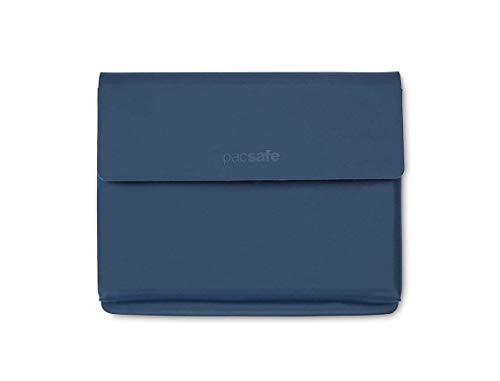 Pacsafe RFIDsafe TEC dünne Reisepass Hülle, 4 Kreditkarten Steckfächer, Reisepassetui mit Anti-Diebstahl Schutz, PU Organizer im schlanken Design, RFID Technologie Datenschutz (Blau/Navy)