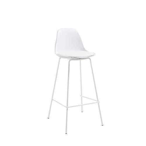 Kave Home - Taburete Alto de Bar Brighter Blanco 65 cm con Respaldo, Asiento tapizado en Piel sintética y Patas de Acero en Blanco