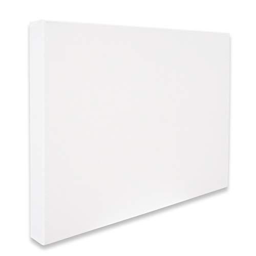 Eono by Amazon - Lienzo estirado Grueso sin Grapas 45 cm x 30 cm Juego de 2 Piezas en Blanco 100% algodón