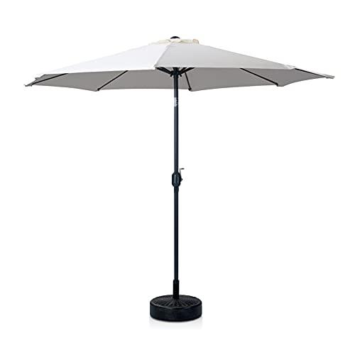Skylantern - Sombrilla derecha octogonal de 300 cm de diámetro con pie de sombrilla – Sombrilla recta con mate central 3 x 3 m beige de acero tratado – Sombrilla para playa, balcón y terraza