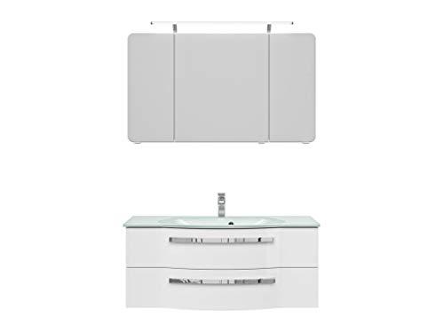 Pelipal FOKUS 4005 Bad Möbel Set (3 teilig) / polarweiß Hochglanz, Spiegelschrank, Glaswaschtisch, Unterschrank, LED Beleuchtung