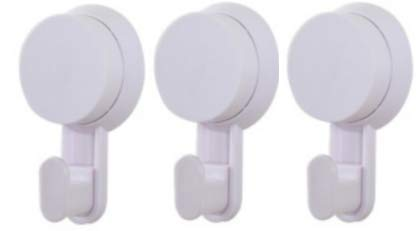 Heavy Duty Vacuum Suction Cup Hooks (3Pack of White) Towel Hook, Shower Hook, Hat Hook, Wreath Hook, Backpack Hook - No Tools and No Adhesive Required - Easy, Waterproof, Colorful!
