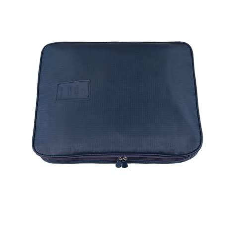 CUBY ワイシャツケース ネクタイ 下着 小物収納 ビジネスマン 出張旅行用 襟つぶれ シワや型崩れ防止 防水 ガーメントバッグ 荷物固定ベルト付属 持ち運び (紺色)