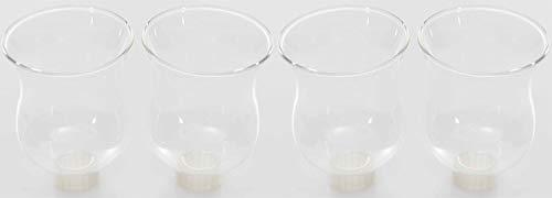 Novaliv 4X Teelichtaufsatz klar 8 cm Glasaufsatz für Kerzenleuchter Kerzenständer Glas Adventskranz Teelichthalter Stabkerzenhalter Kerzenpick 6cm