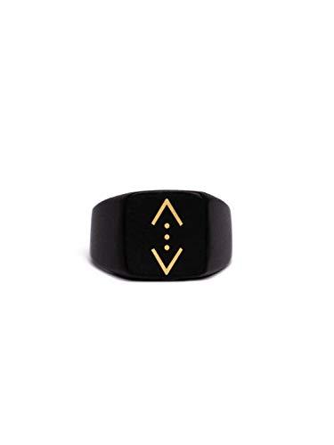 Gök-Türk Ring for Men Unisex with Pendant 'Cukur' Black