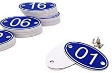 ABS Engraved 30mm x 50mm Oval Table Numbers (1-50) Pubs Restaurants Clubs - Blue - 1 to 50