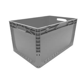 1 Stück Euronorm Behälter<br/>L 600 x B 400 x H 320 mm<br/>grau geschlossen<br/>Handgriffe offen
