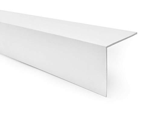 Quest Perfil angular de PVC de plástico, autoadhesivo, protección de cantos, esquinas y rincones, 20 x 10 mm, 100 cm, color blanco