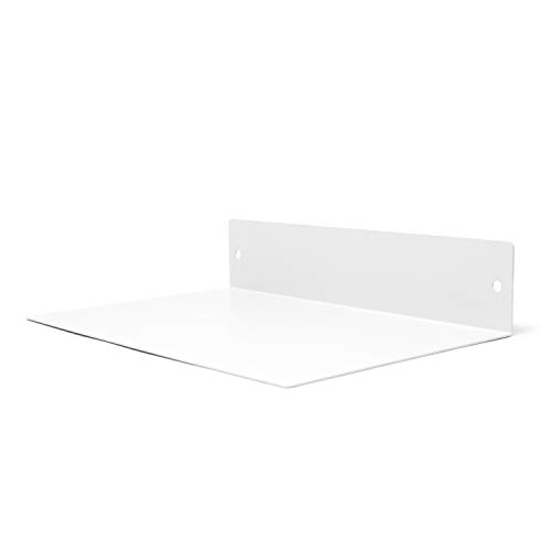Buhbo Floating Shelf Wall Mounted (8 inch x 12 inch) Heavy Duty Industrial Modern Steel, White
