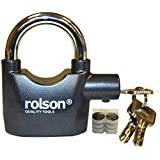 Rolson 66857 - Candado de Seguridad con Llave y Alarma (Funciona con Pilas de botón 6 LR44)