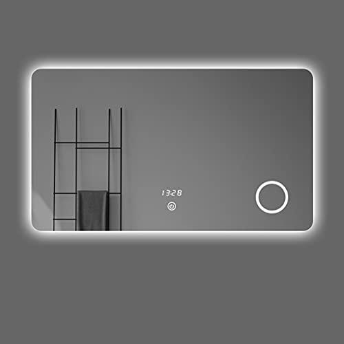 YJKDM Espejo de tocador de Maquillaje LED Cuadrado con función antivaho, Espejo de luz Ajustable de Pared, Espejo de Pared con botón táctil, 60x80cm, 70x90cm