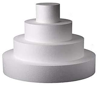 Kit basi Torta 4 Forme circolari in polistirolo per Cake Design, Altezza 10cm basi 10cm, 20cm, 30cm e 40cm